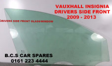 VAUXHALL INSIGNIA   DRIVERS SIDE DOOR GLASS   USED  2009 - 2011 GREEN TINT  USED OSF